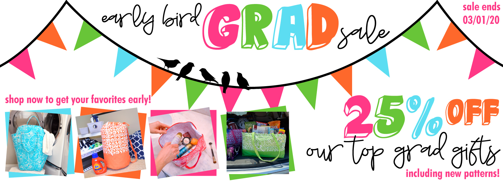 early bird graduation sale! 25% off our top gifts.