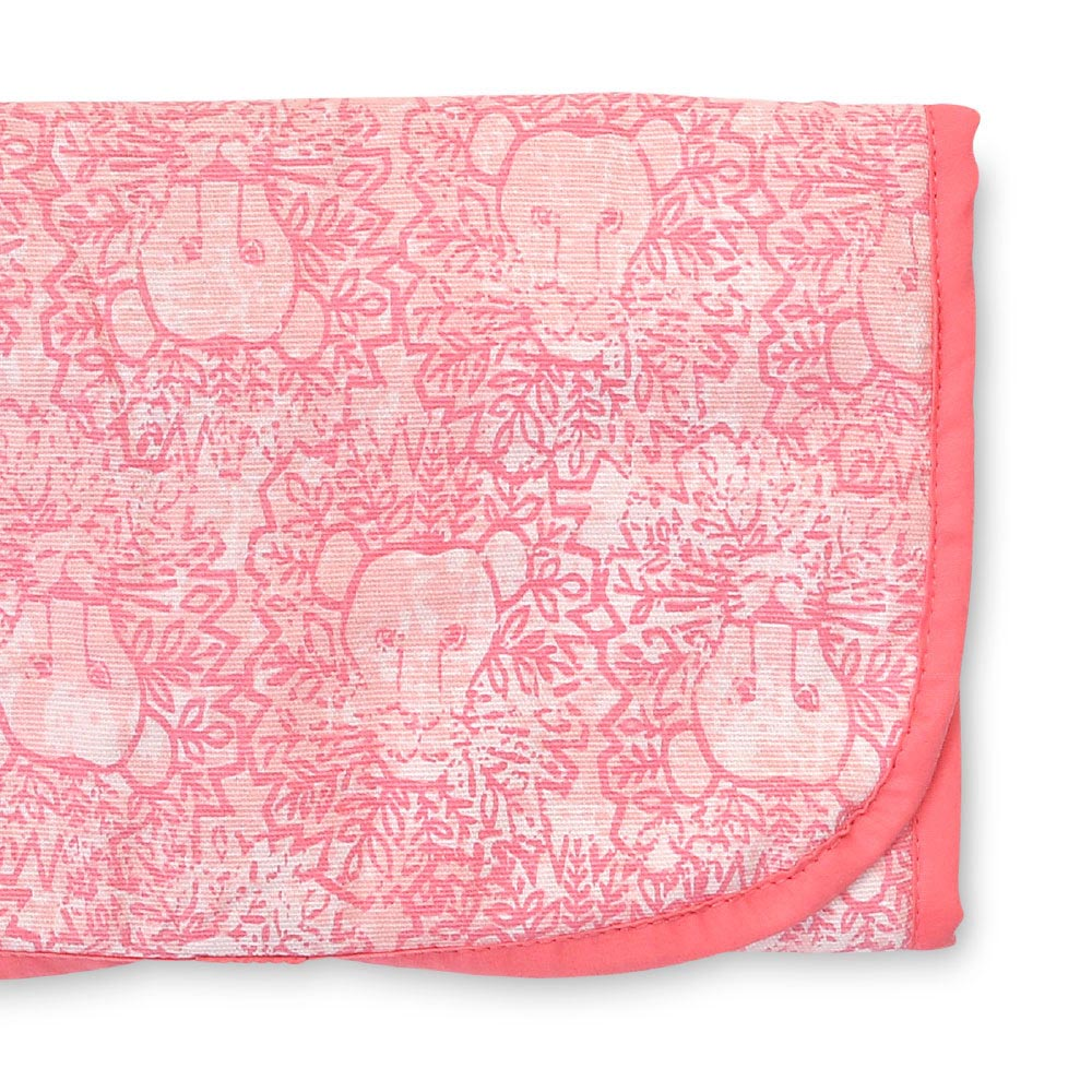 lion around pink changing pad