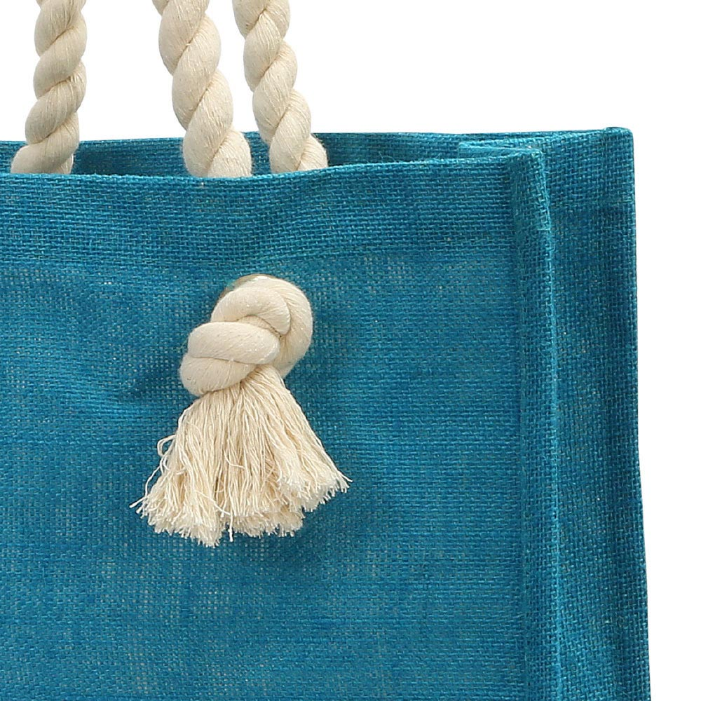 jute teal market tote, rope handle