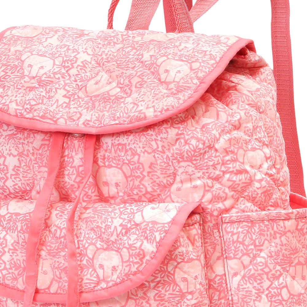 lion around pink quilted backpack