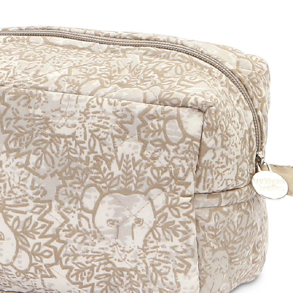 lion around khaki quilted cosmetic bag