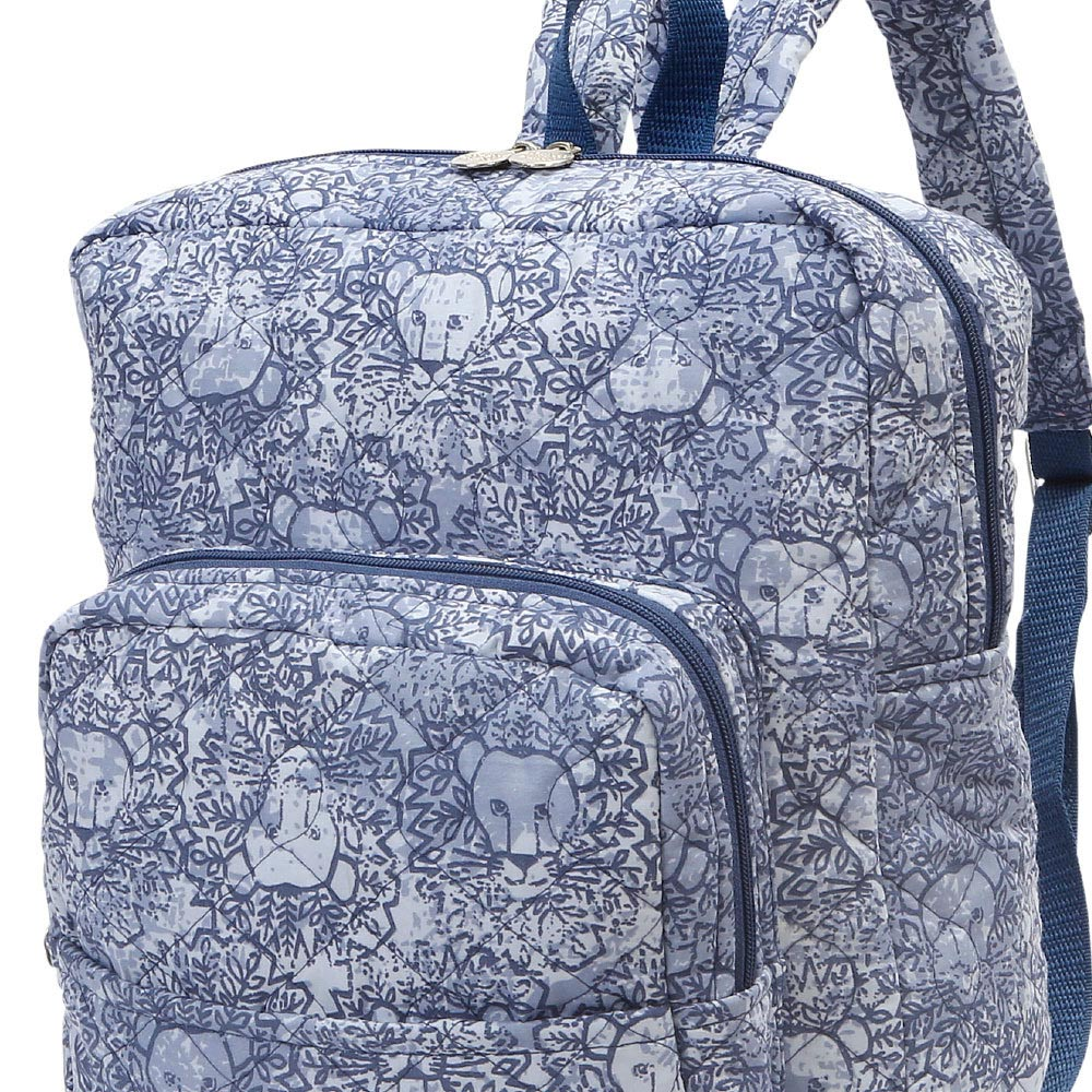 lion around blue quilted backpack