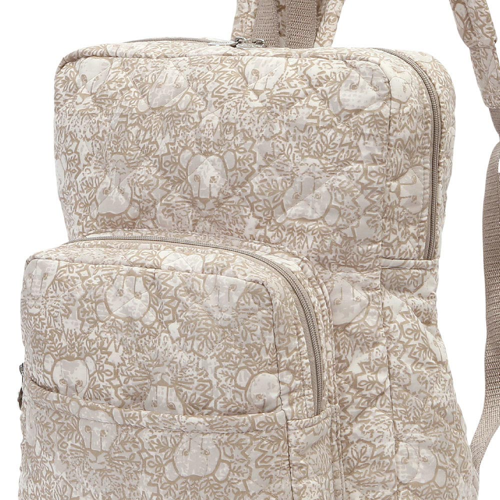 lion around khaki quilted backpack