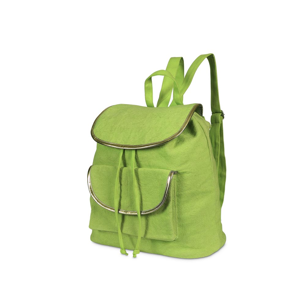 durry backpack green, gold trim