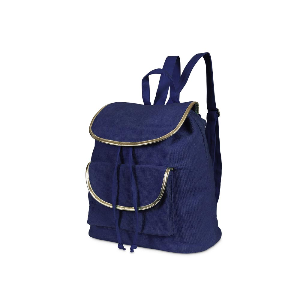 durry backpack navy, gold trim
