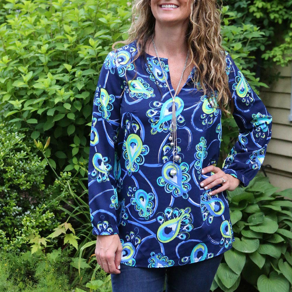 peacock blue riley shirt
