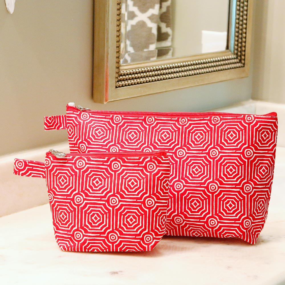 echo red zipper bag set