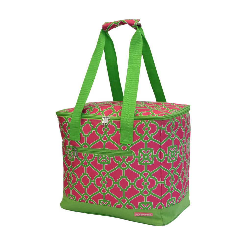 on the veranda pink/green cooler tote