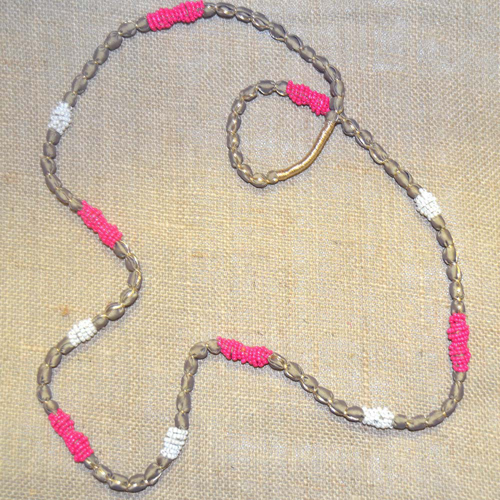 color pop necklace with pink and white beads