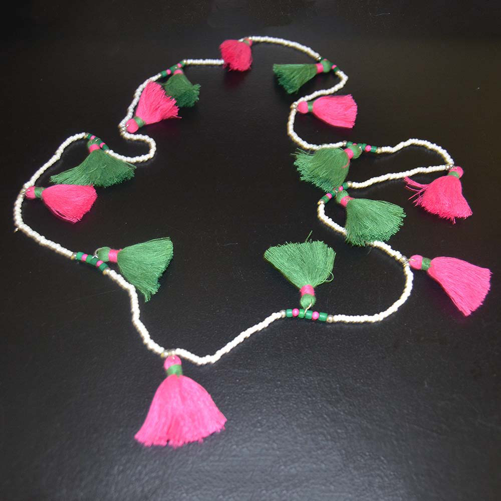 pink/green tassel time necklace