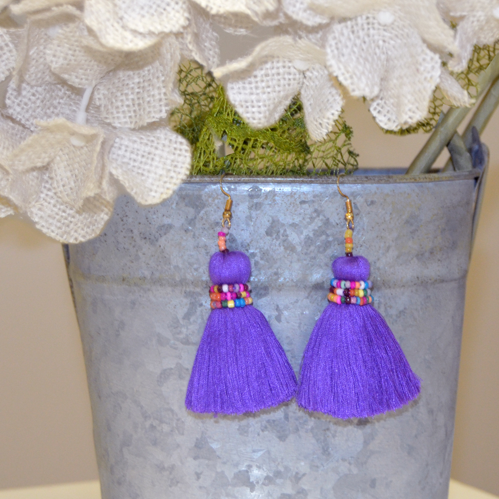 no hassle tassel purple earring