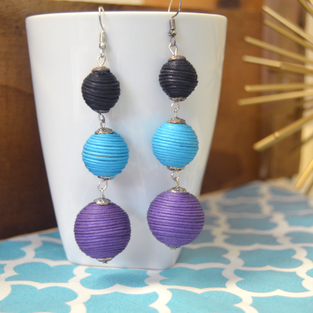 triple ball drop black/turq/purple earring