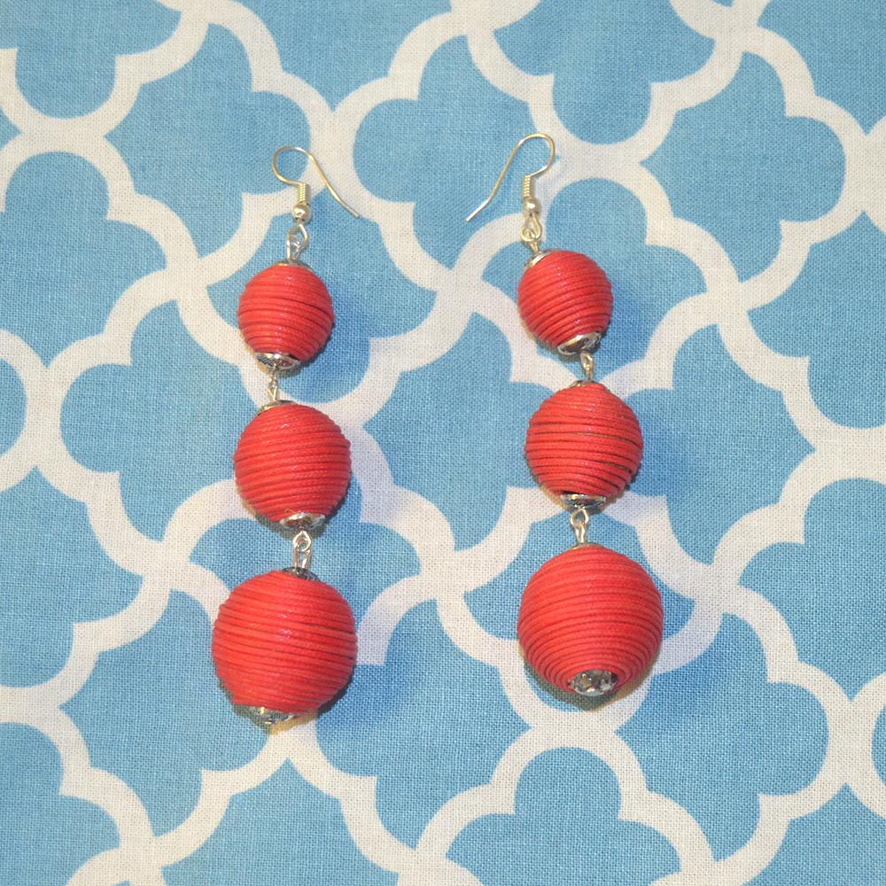triple ball drop red earring