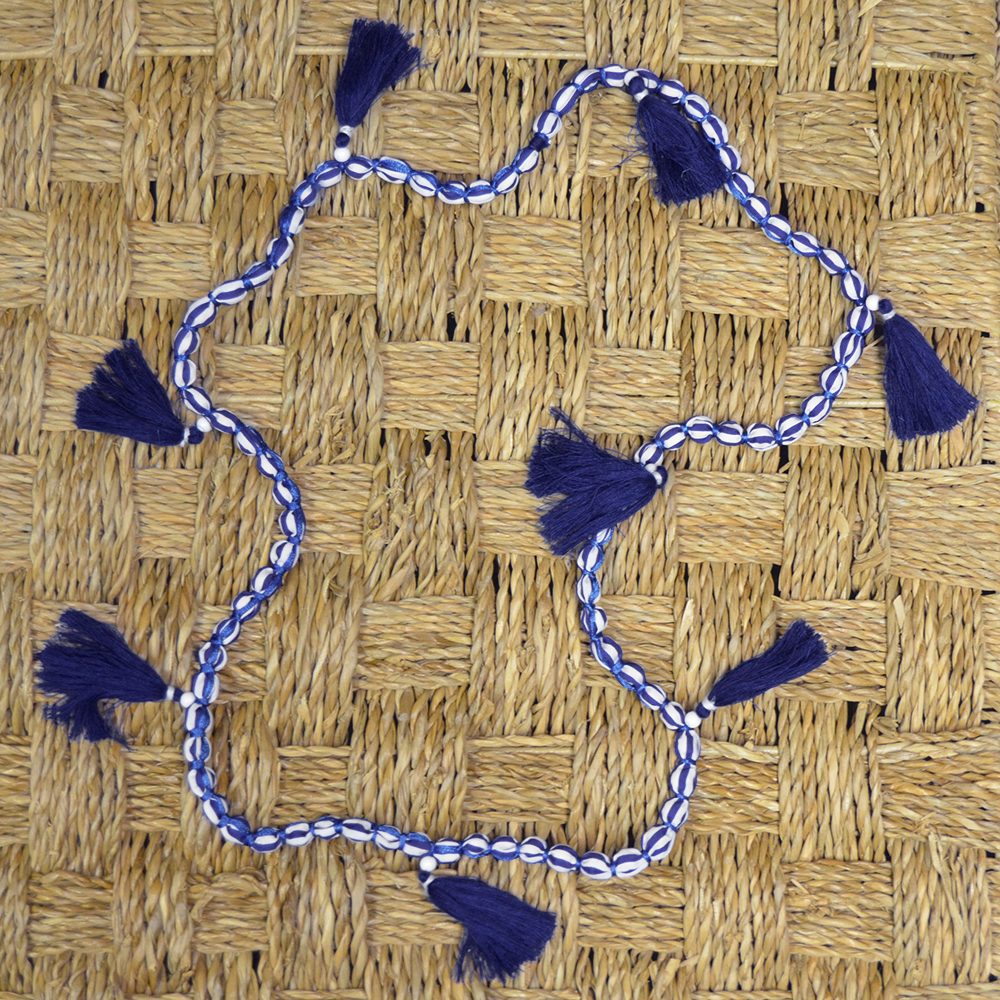 so chic blue and white stipe beaded necklace with blue tassels
