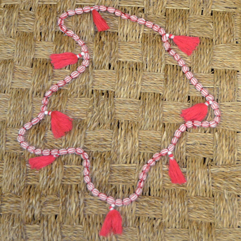 so chic pink and white stipe beaded necklace with pink tassels