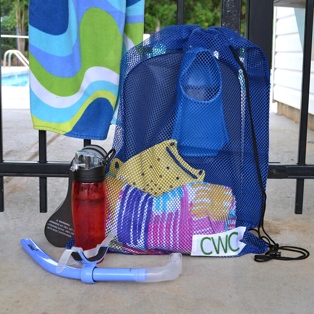 blue mesh swim bag