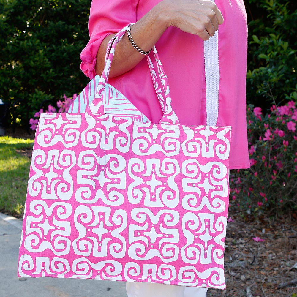 don't fret pink canvas tote