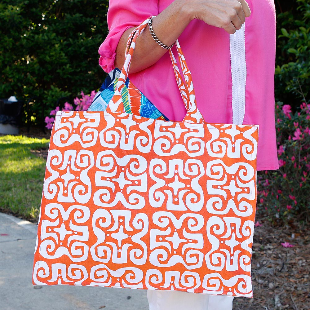 don't fret orange canvas tote