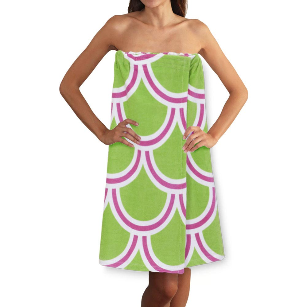 harbor bae pink/green terry spa wrap