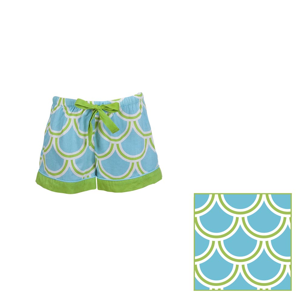 harbor bae turquoise/green kids lounge shorts