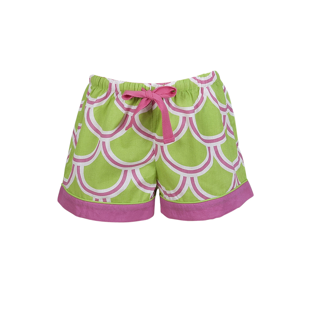 harbor bae green/pink kids lounge shorts
