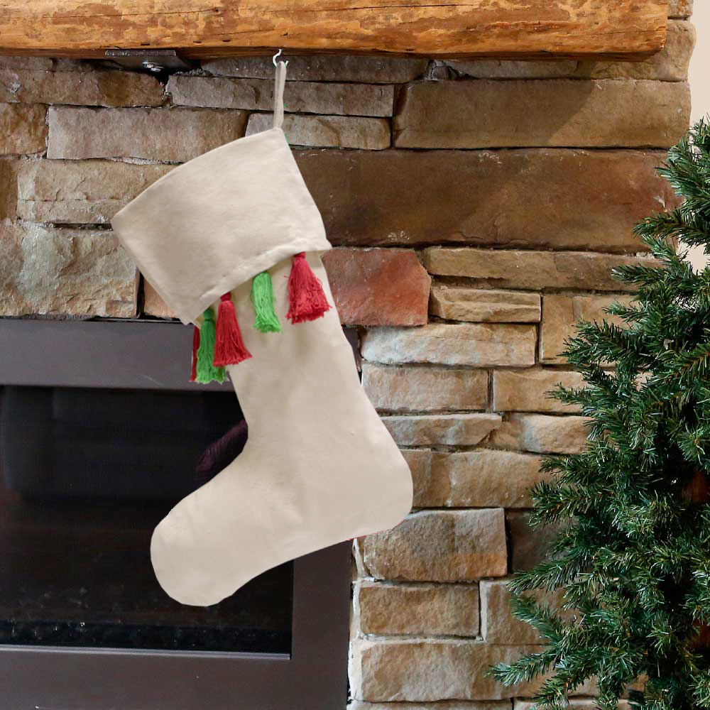 holiday stocking natural with red and green tassels