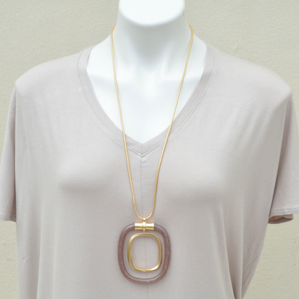gold with brown acrylic necklace