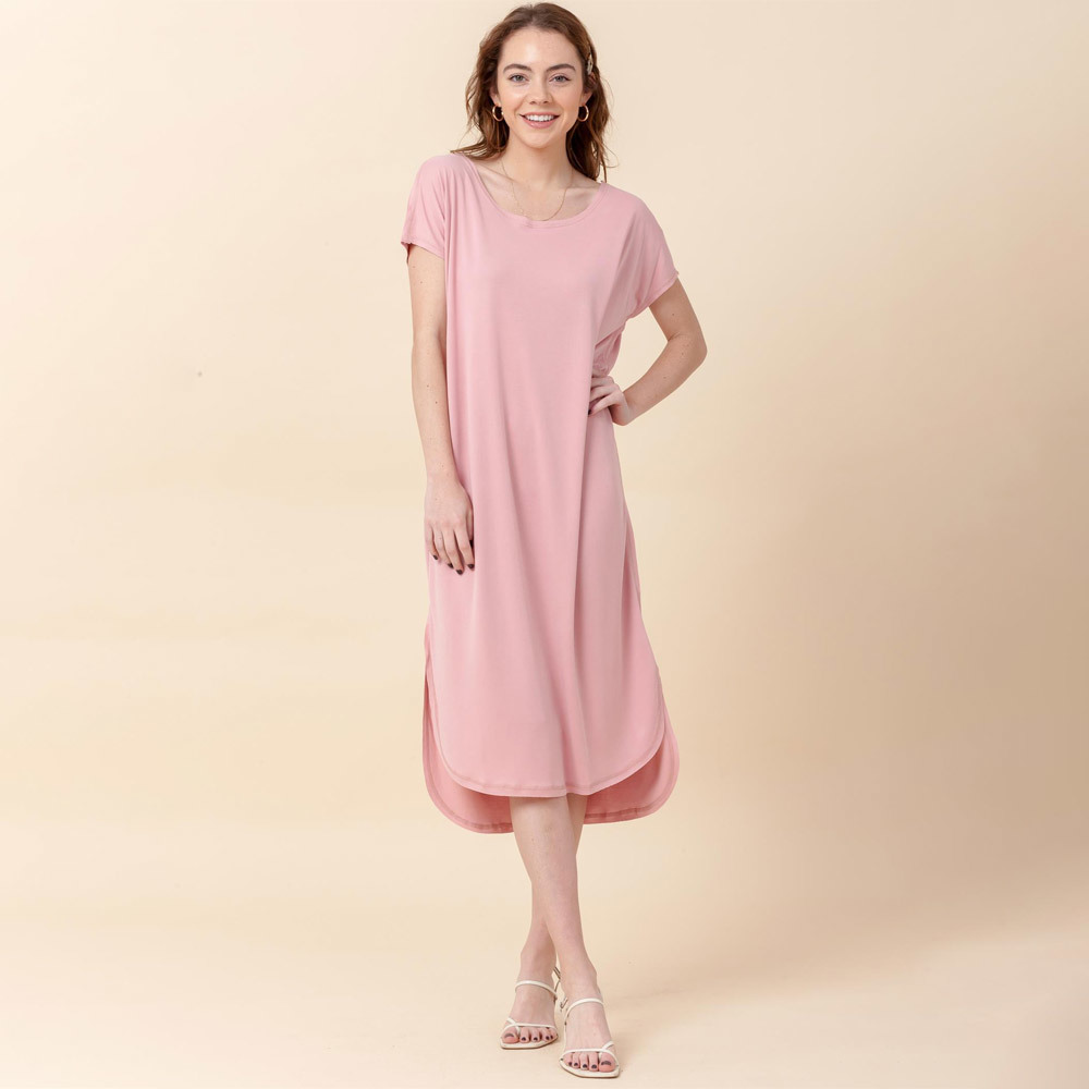 desert rose roundneck short sleeve mid calf t-shirt dress