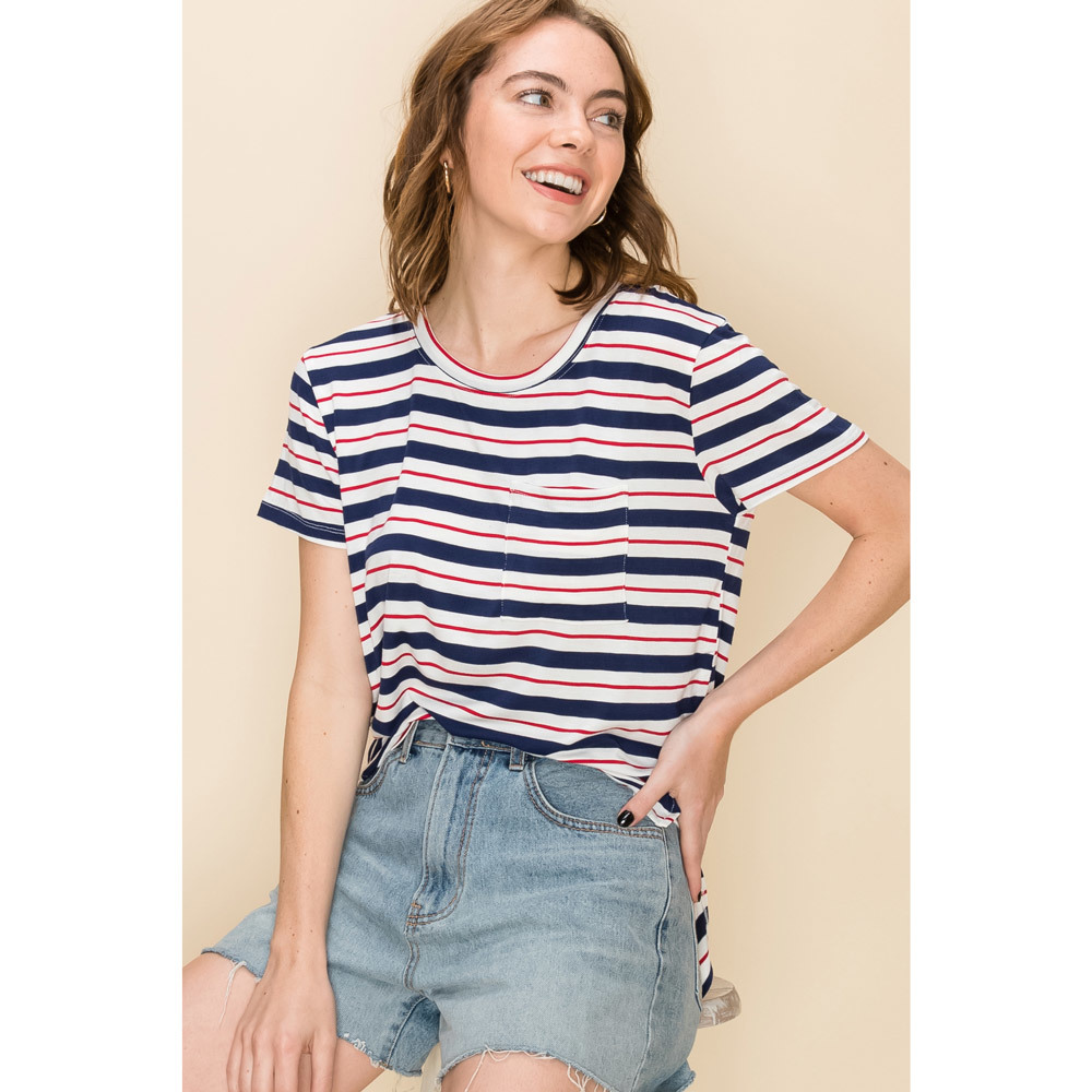 round neck short sleeve navy/red stripe tee