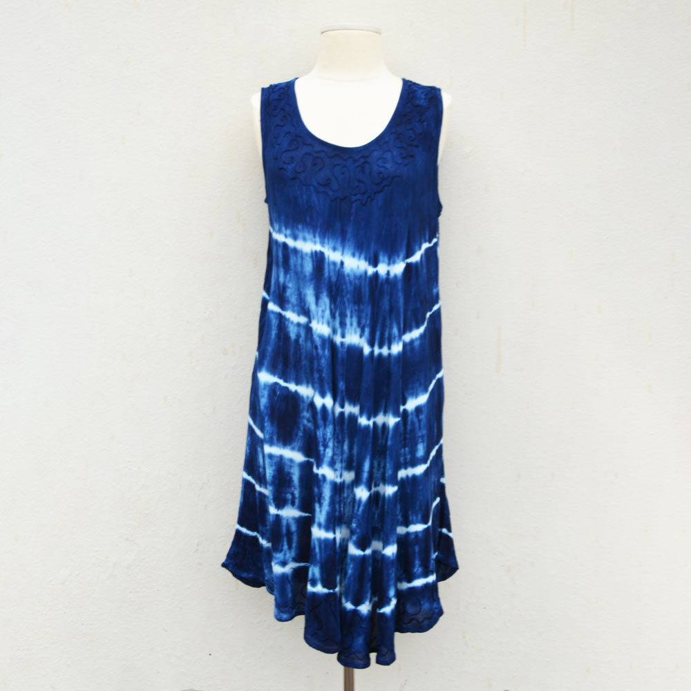 navy tie dye sleeveless dress/cover up one size