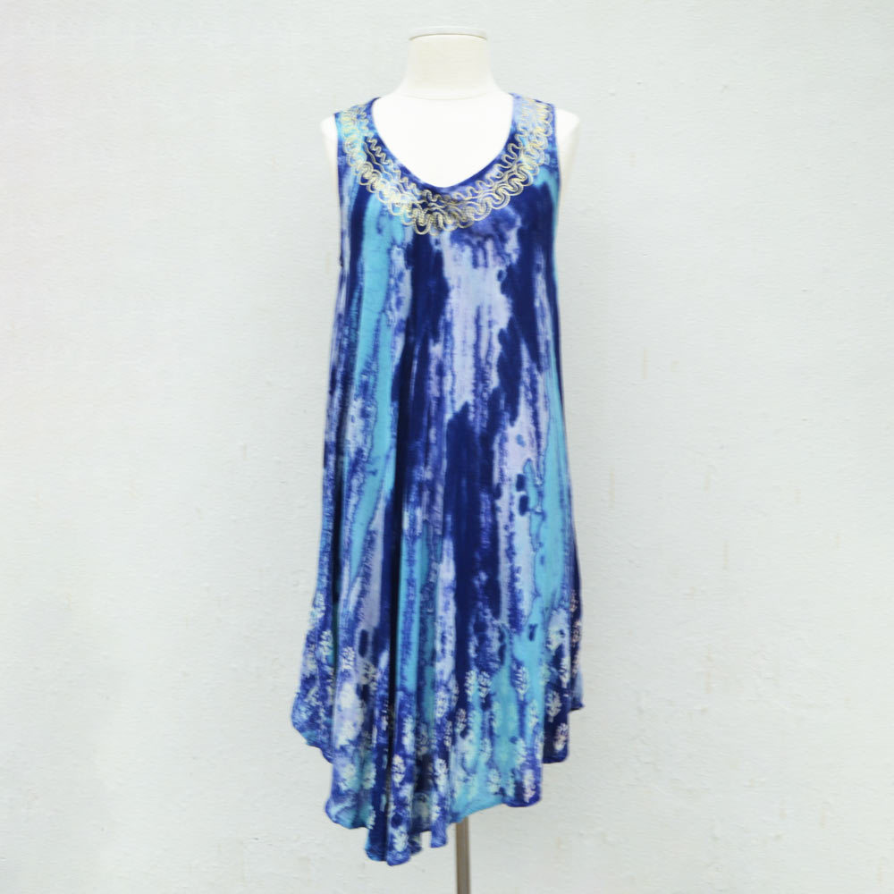 navy watercolor batik sundress/cover up one size