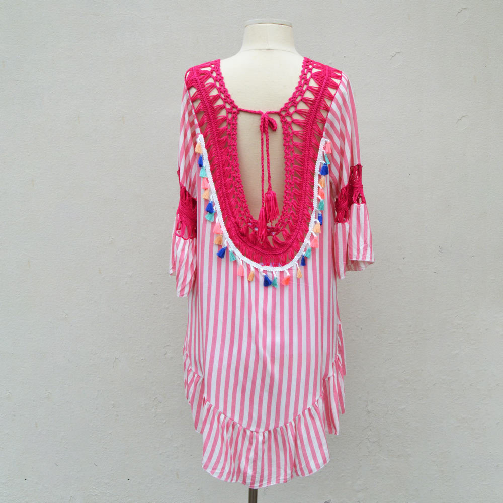 pink striped boho with tassel  cover up one size