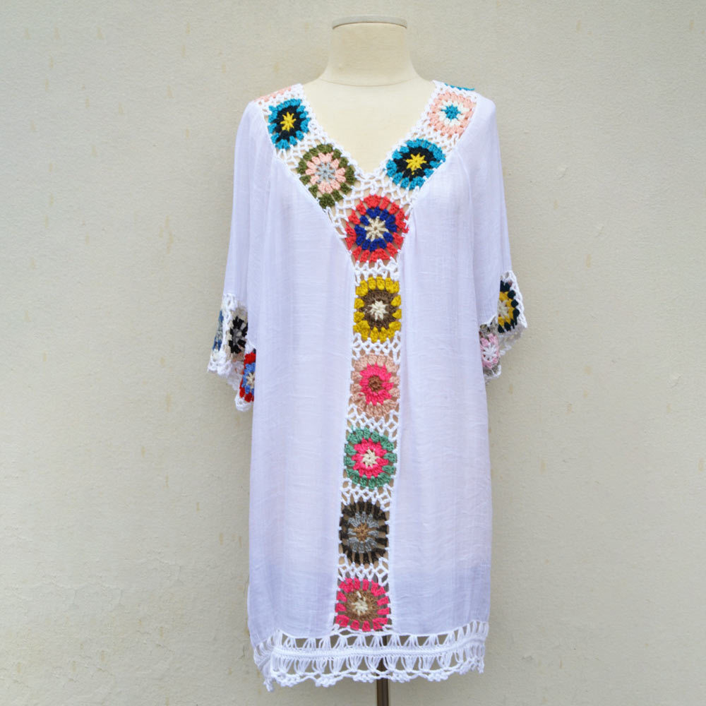 white crochet cover up one size