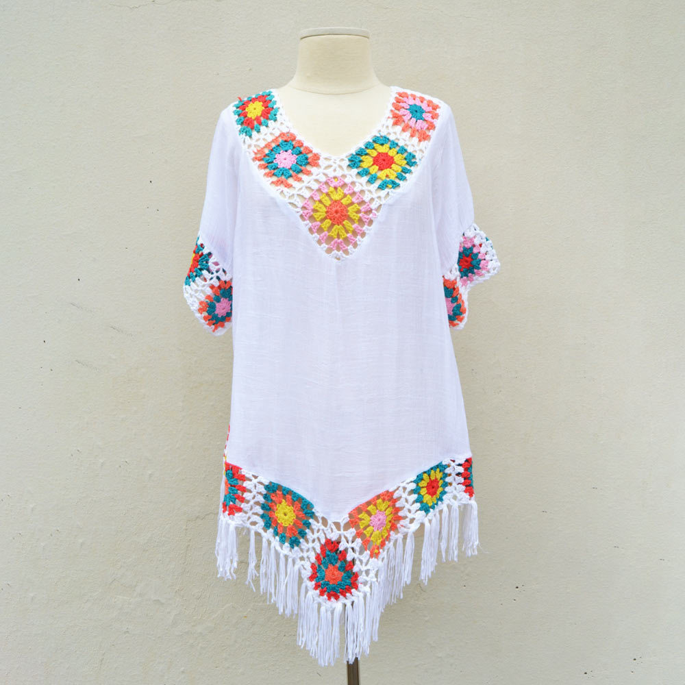 white crochet trapex tunic one size