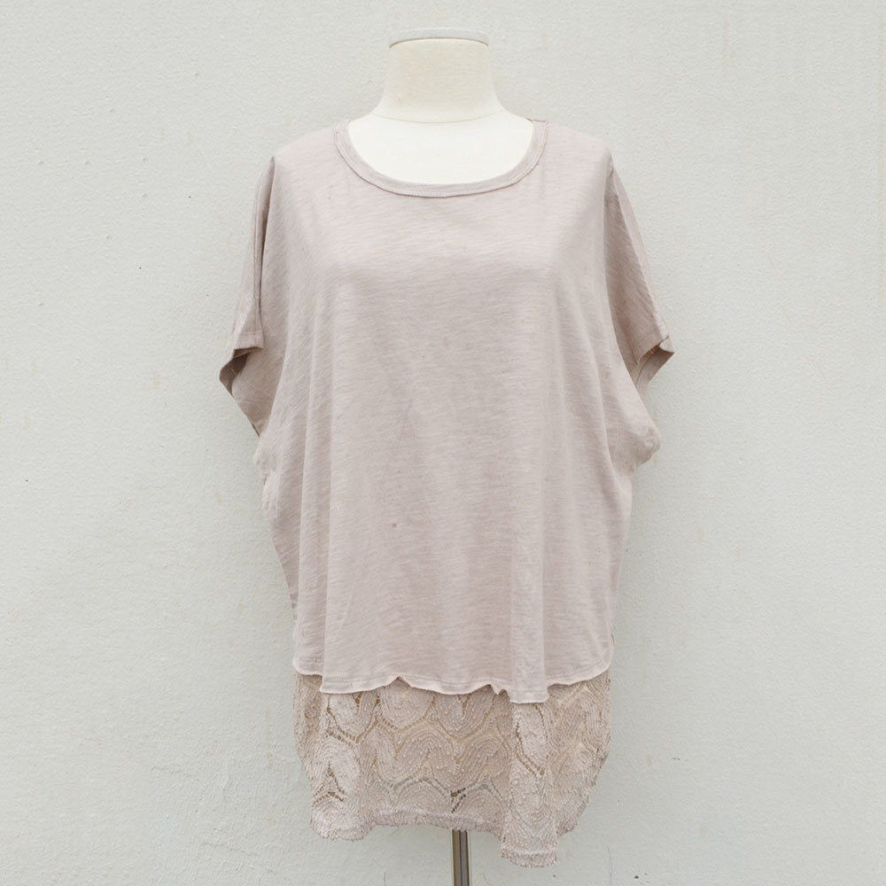 taupe short sleeve high low slub knit top with crochet border