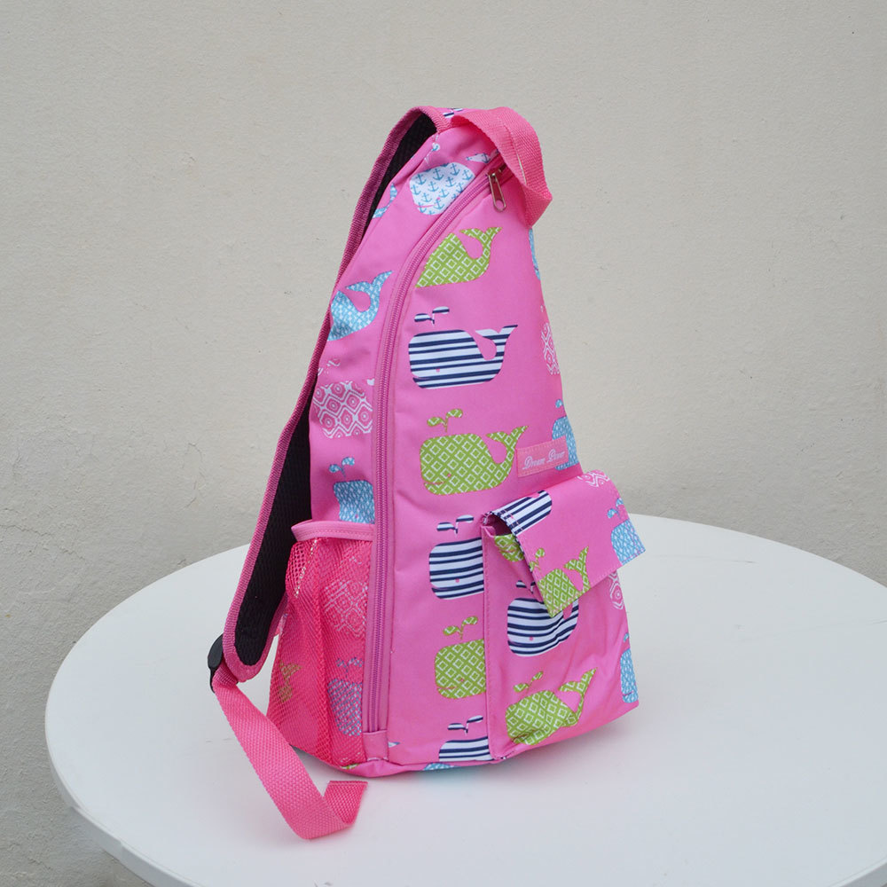 pink with whales one shoulder strap sling bag