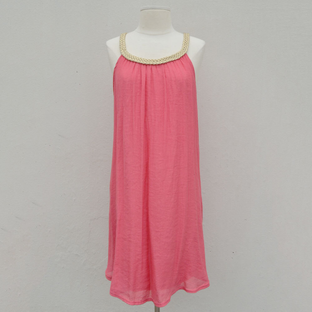 coral/gold poly guaze rope neck sundress/cover up one size