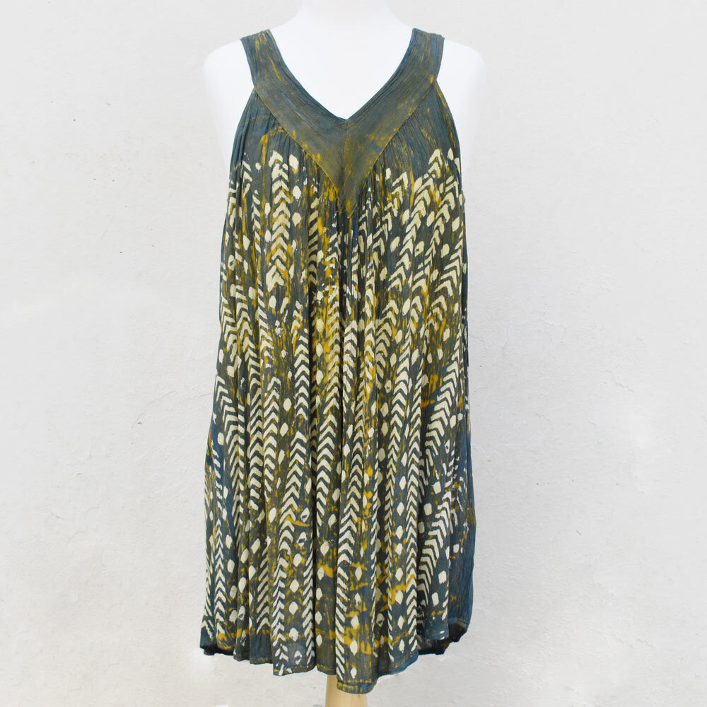 olive and mustard short batik sundress