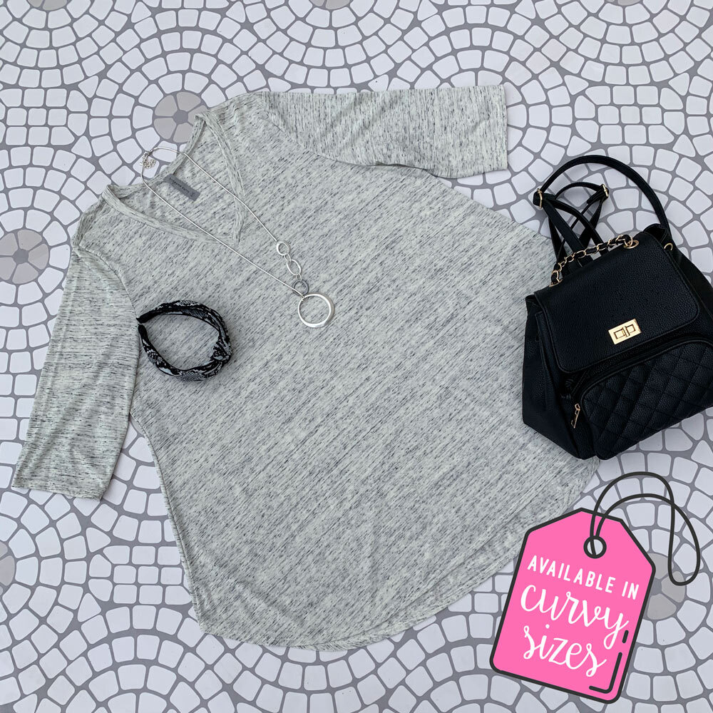 curvy heather gray knit top with 3/4 length sleeve