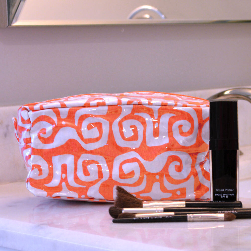 don't fret orange cosmetic zipper bag