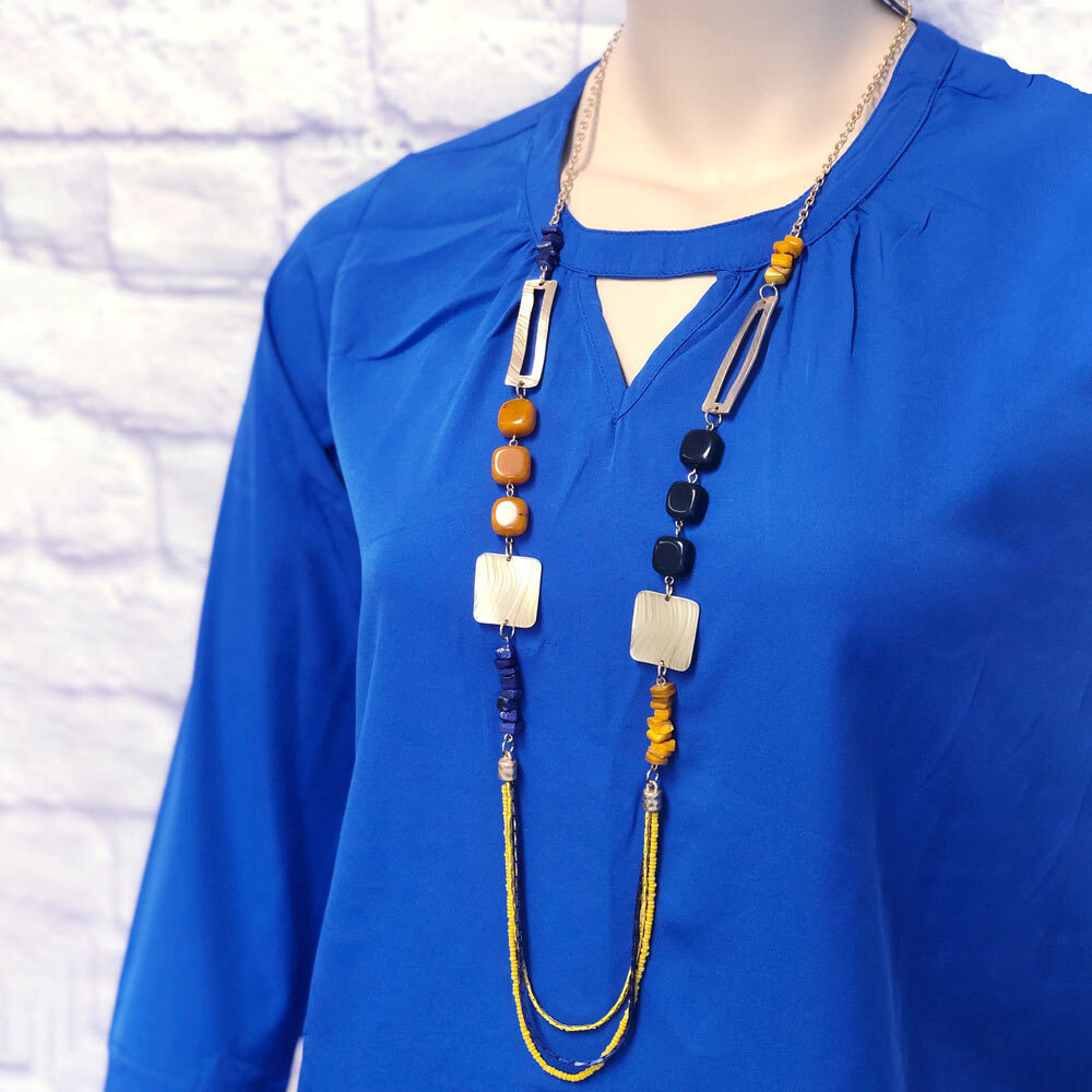 navy and mustard stone necklace