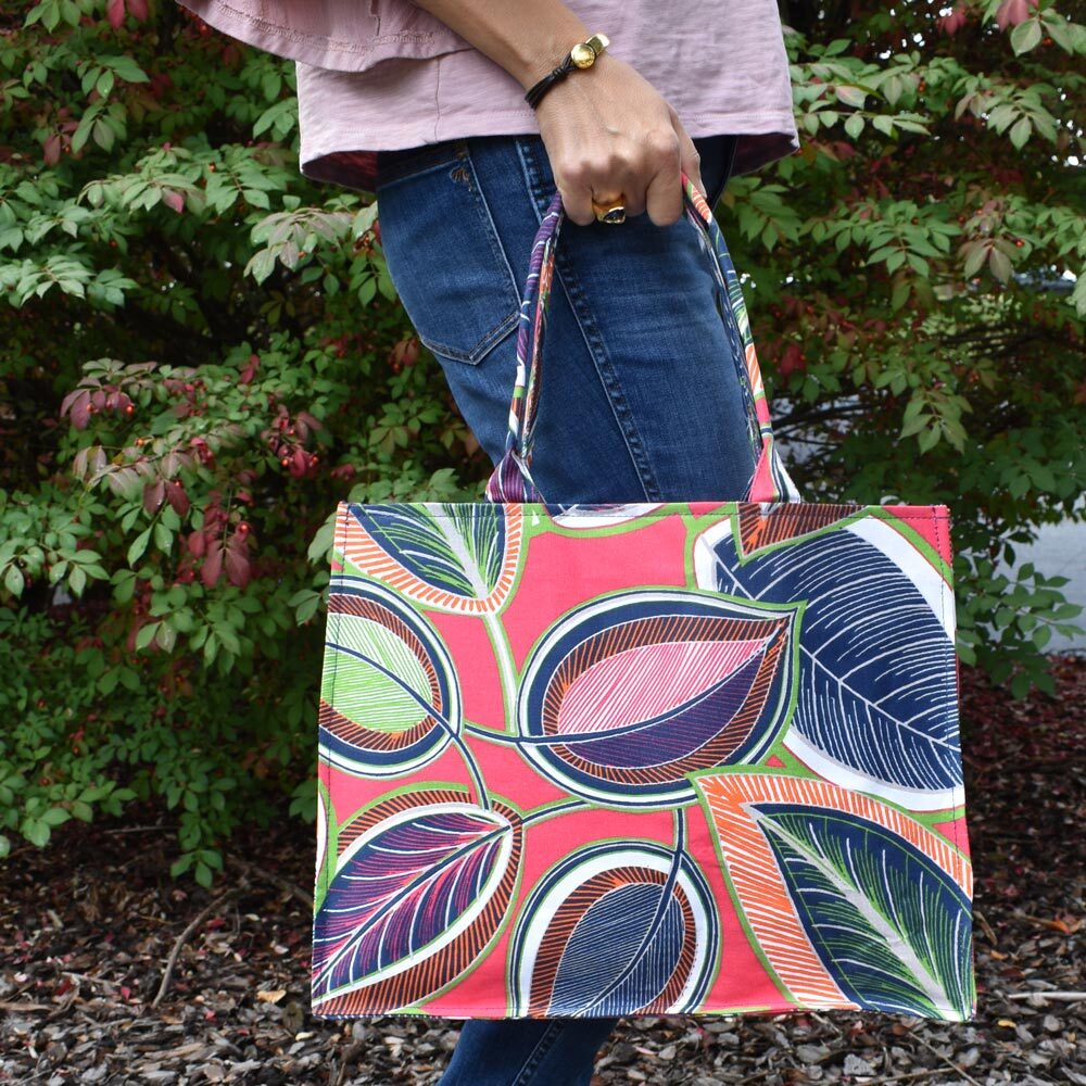 feather or not canvas tote