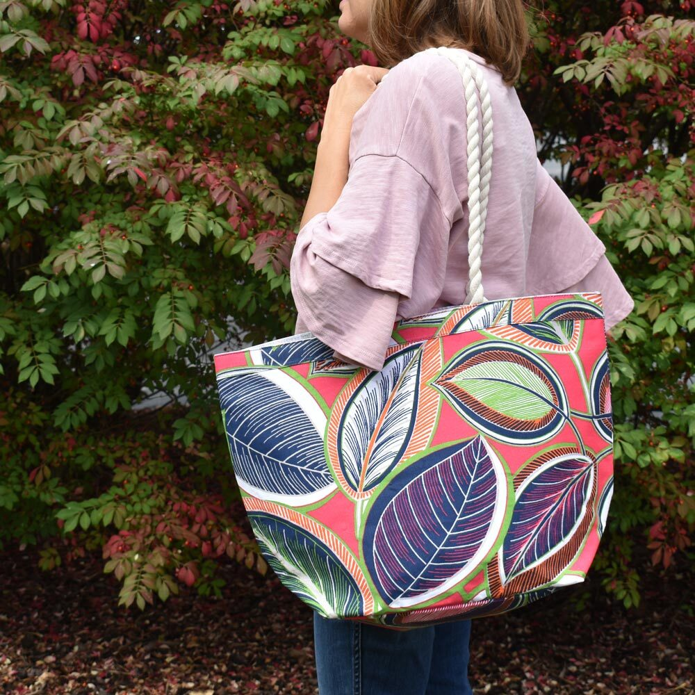 feather or not canvas tote with rope handle