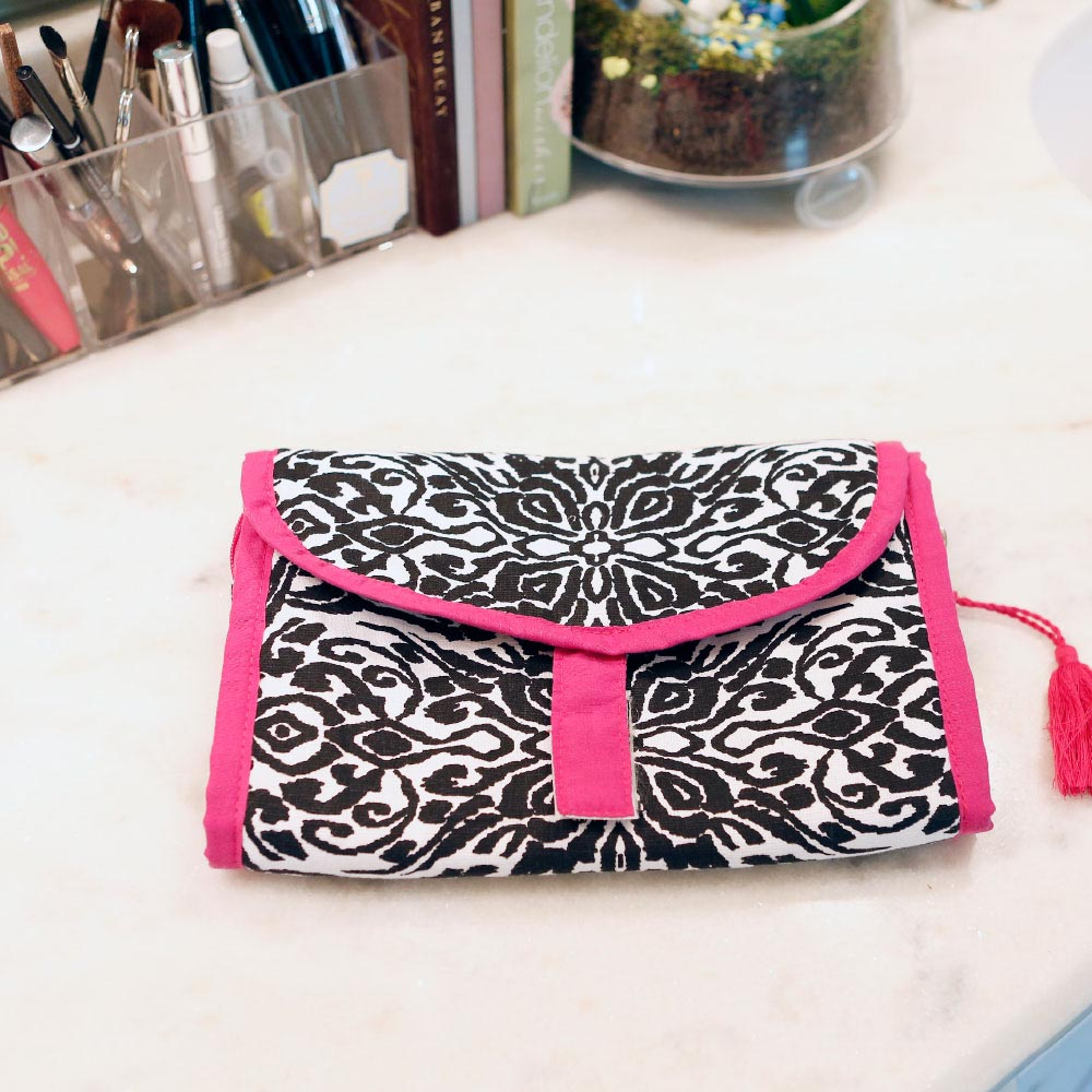 point blank black accessory bag pink trim w/tassle