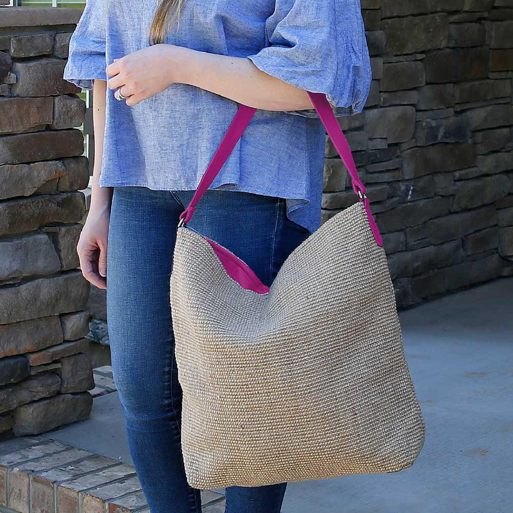 charleston bardot bag w/pink trim