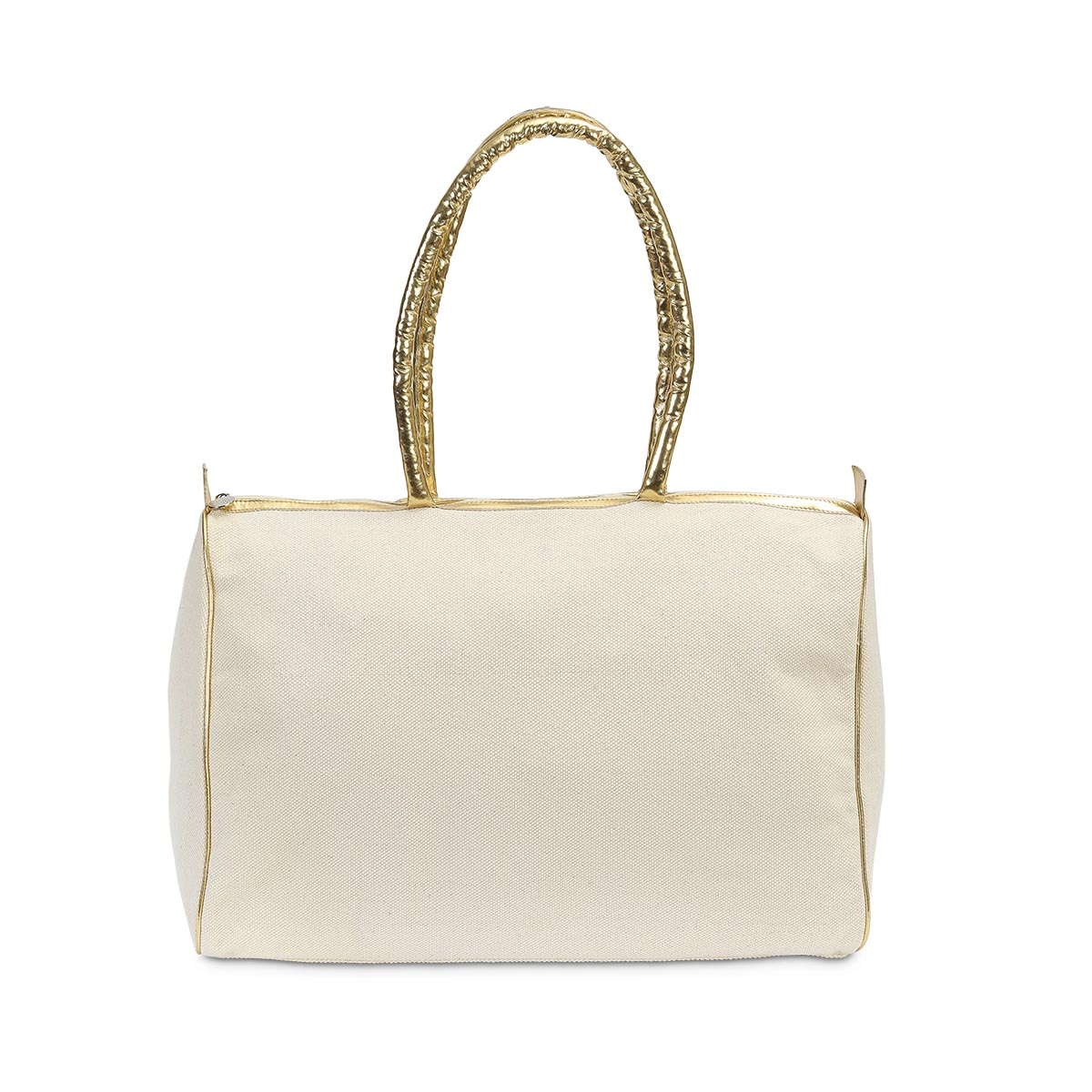durry beach duffle natural, gold handle