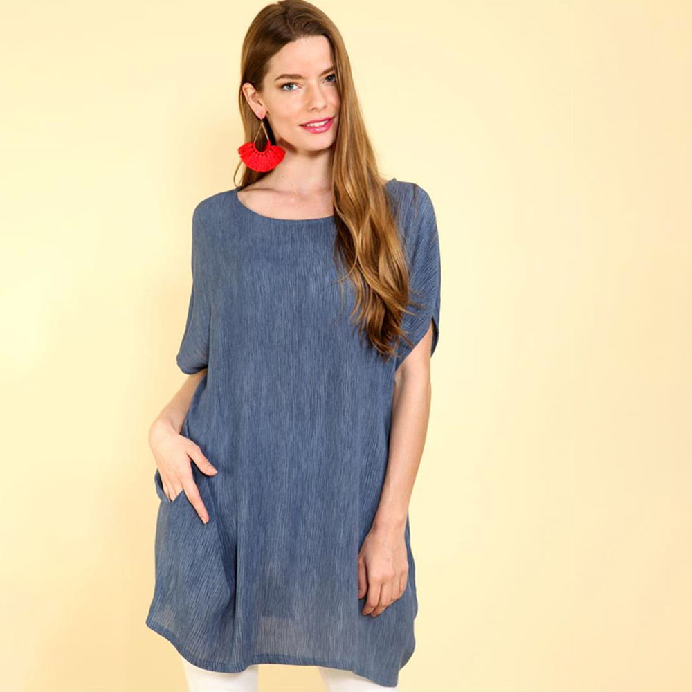 denim oversized top with dolman sleeves and pockets
