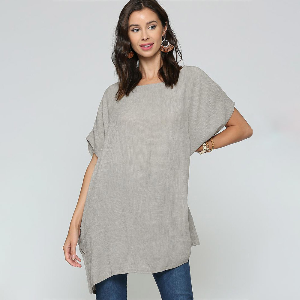 grey oversized top with dolman sleeves and pockets