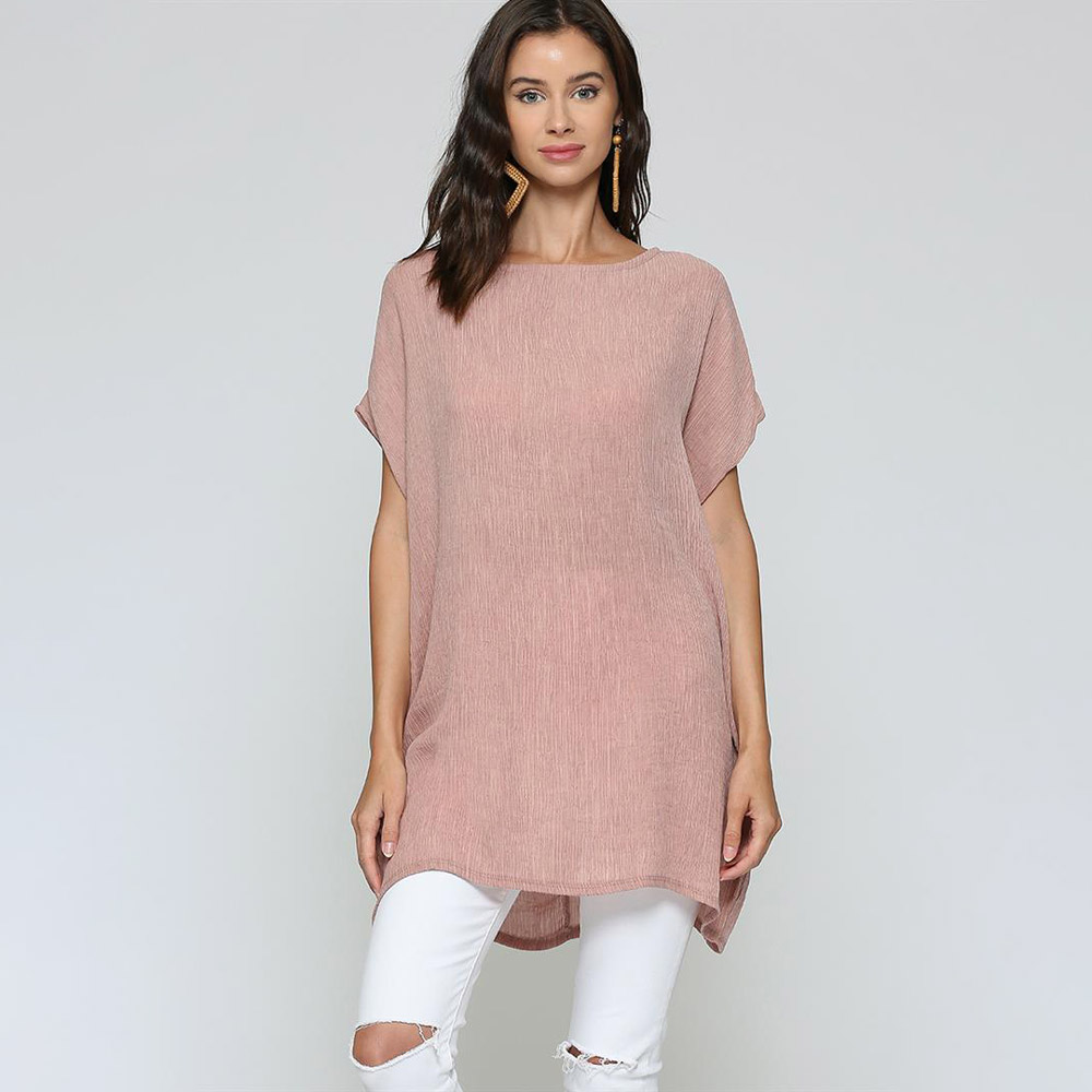 lt mauve oversized top with dolman sleeves and pockets