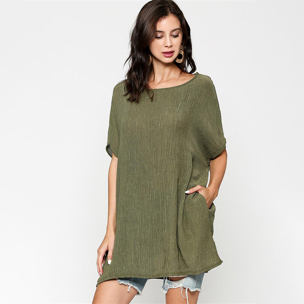 olive oversized top with dolman sleeves and pockets